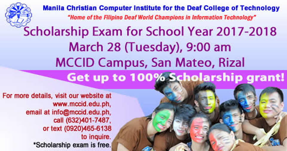 Scholarship Exam on March 28, 2017 at 9 am